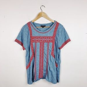 Lucky Brand Women's Large Gray and red embroidered